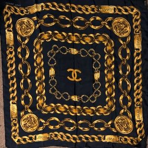 Chanel silk scarf with gold chains